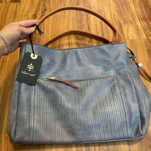 Moda Luxe Blue Leather Shoulder Bag Purse